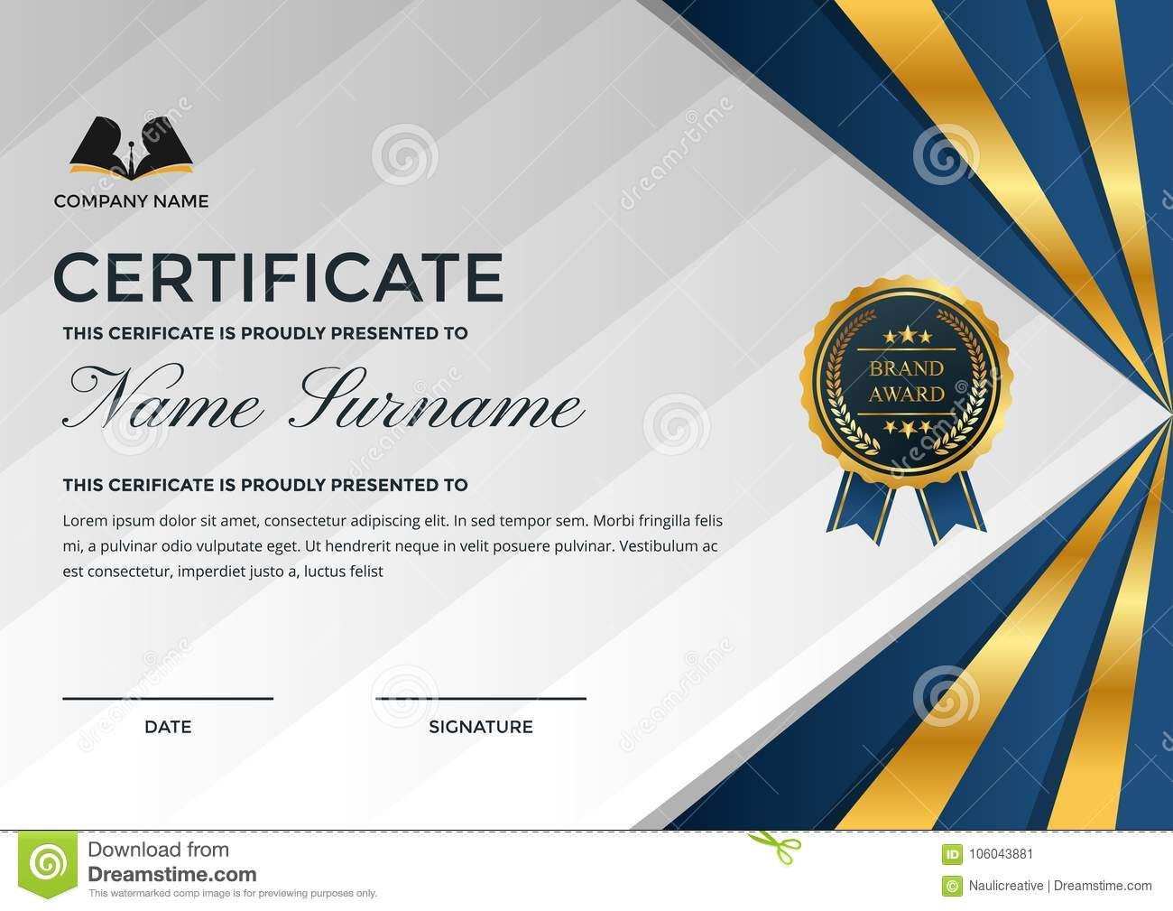 Premium business certificate template with education symbol stock download comp fbccfo Image collections