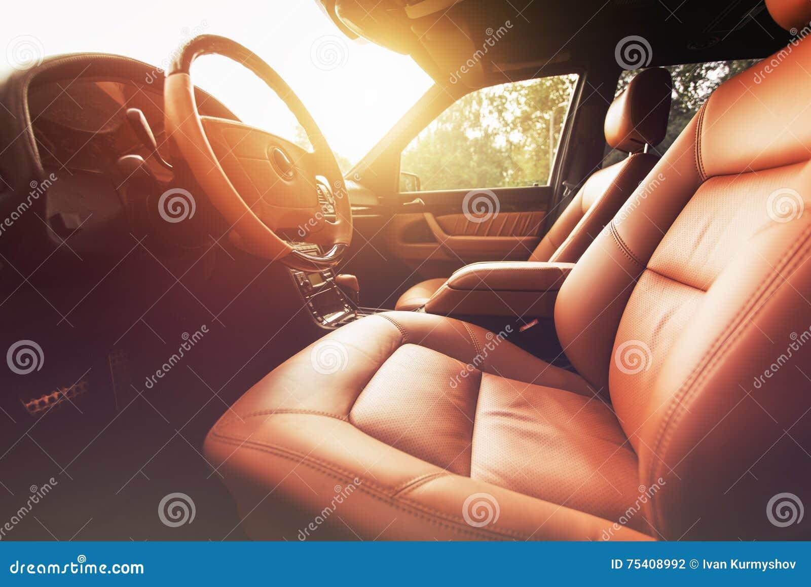 Car interior brown - Premium Car Interior Brown Leather At Sunset