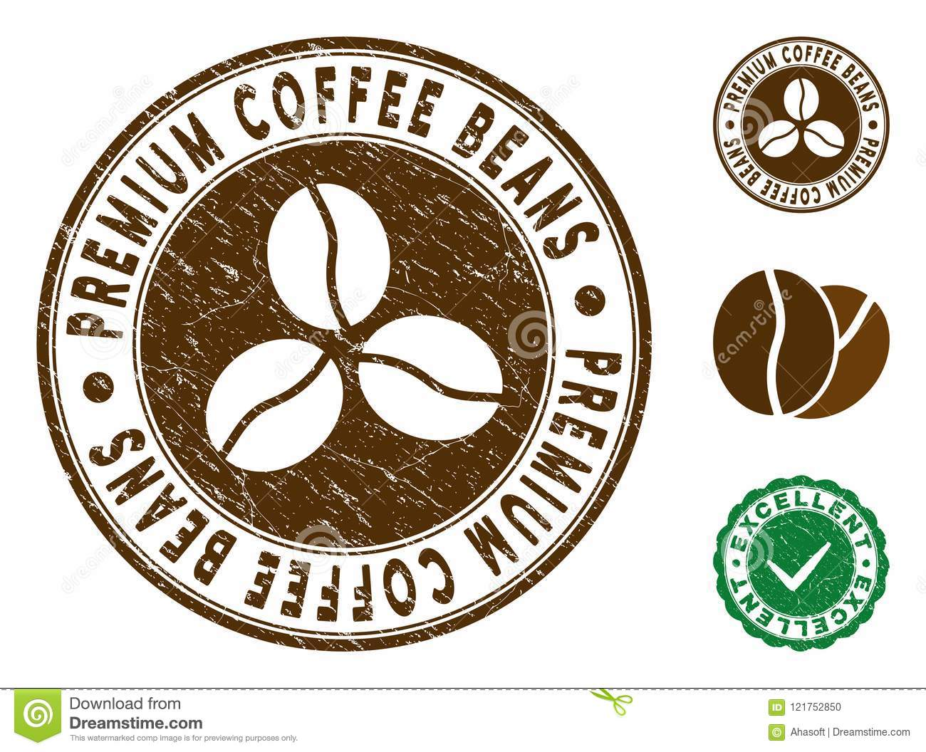 Premium Coffee Beans Stamp With Distress Style Stock Vector
