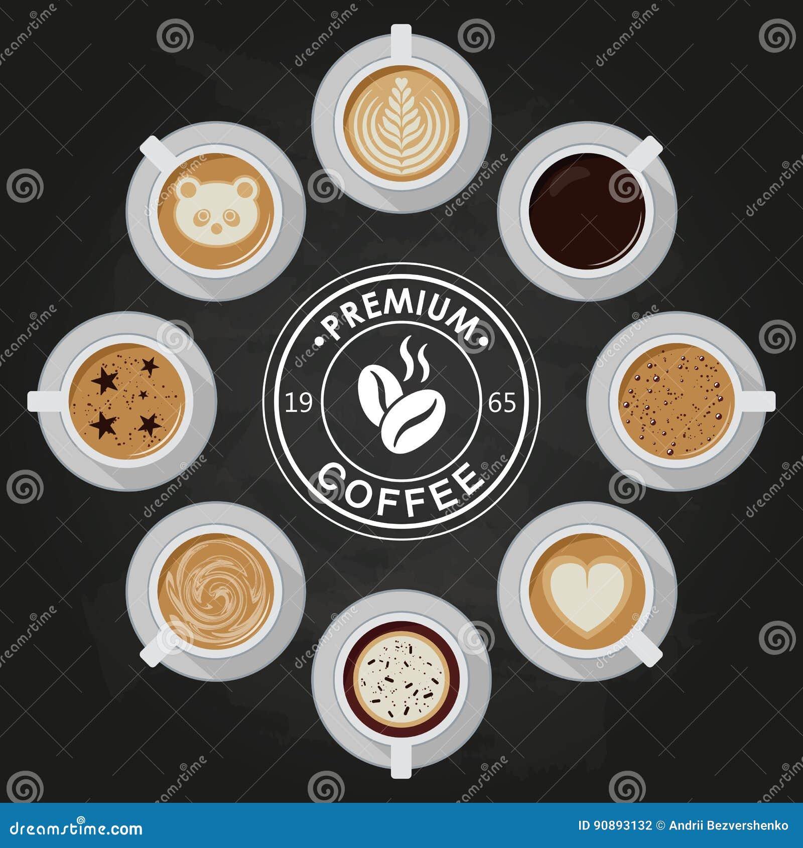 Premium Coffee cups, americano, latte, espresso, cappuccino, macchiato, mocha, art, drawings on coffee crema, view top