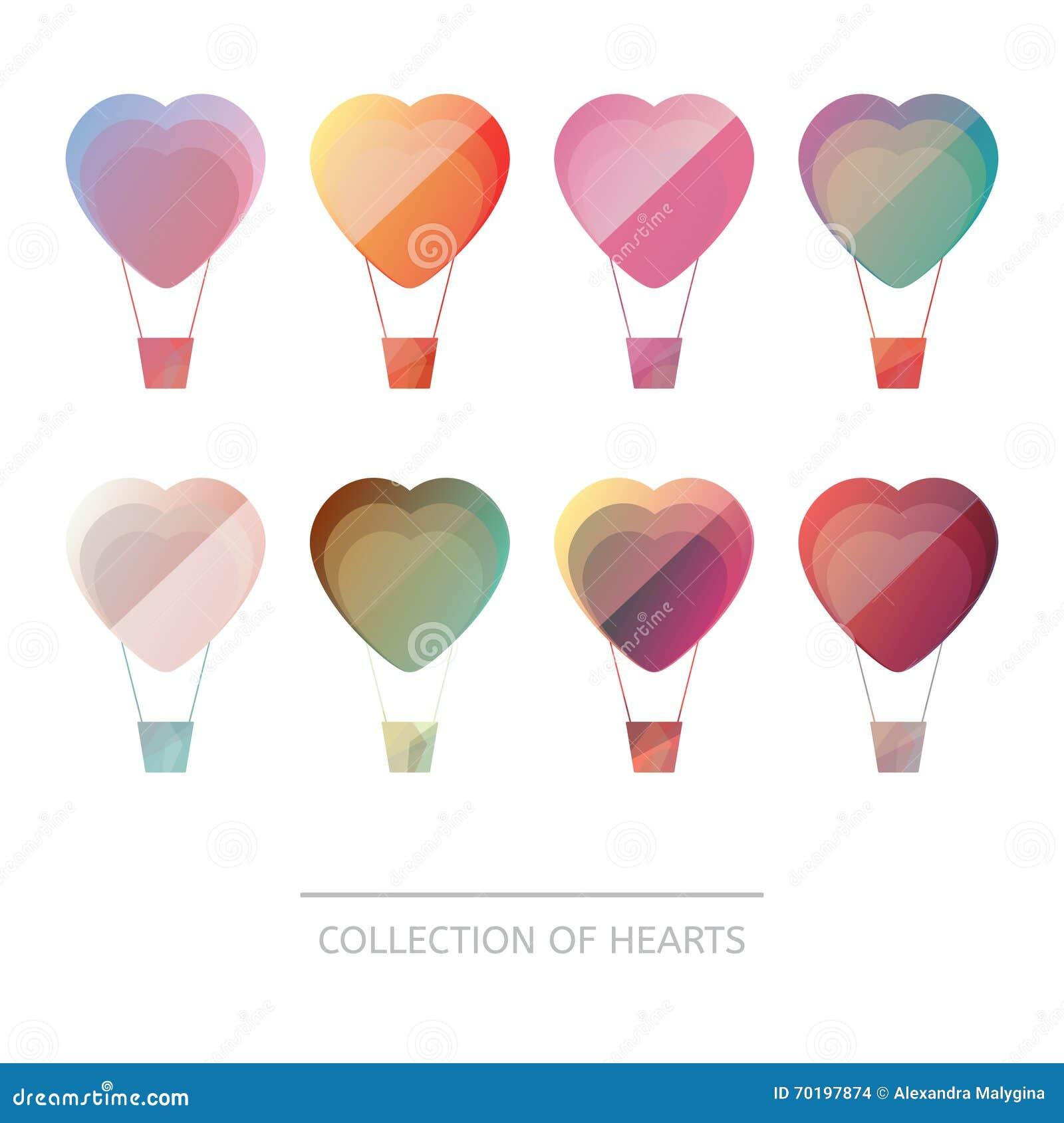Premium colorful set of geometric balloons hearts