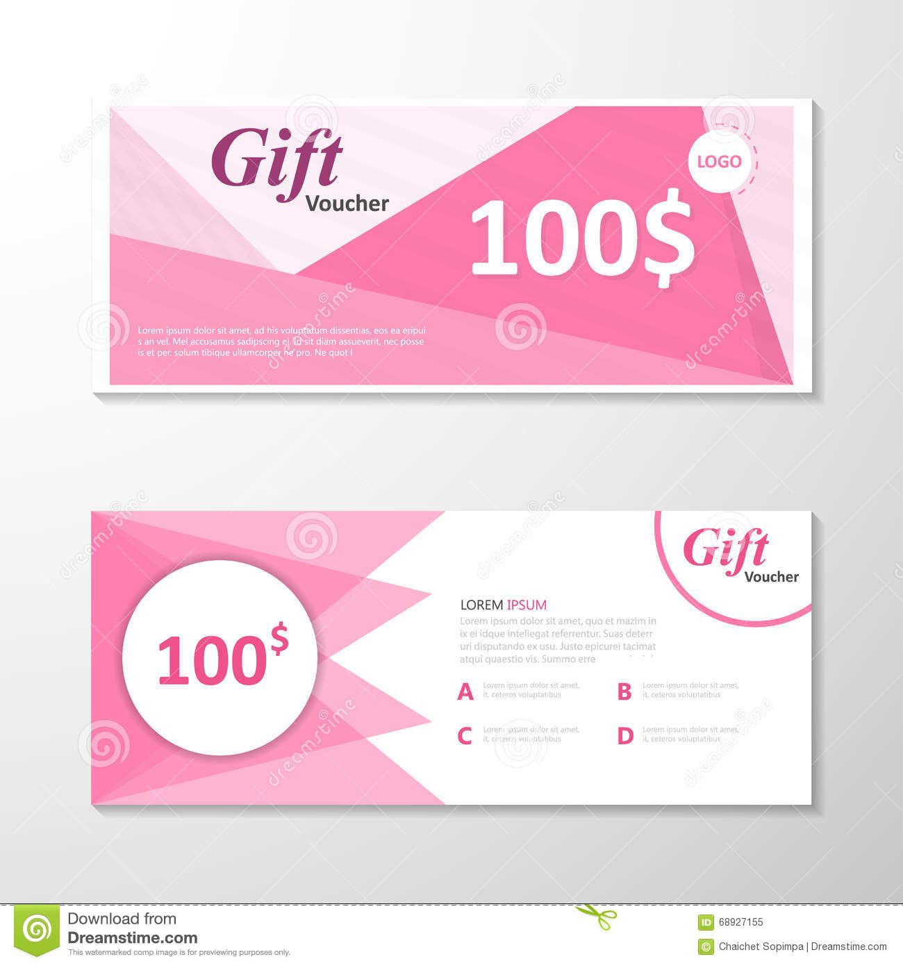 Premium Elegance Pink Gift Voucher Template Layout Design Set, Certificate Discount  Coupon Pattern  Free Discount Vouchers