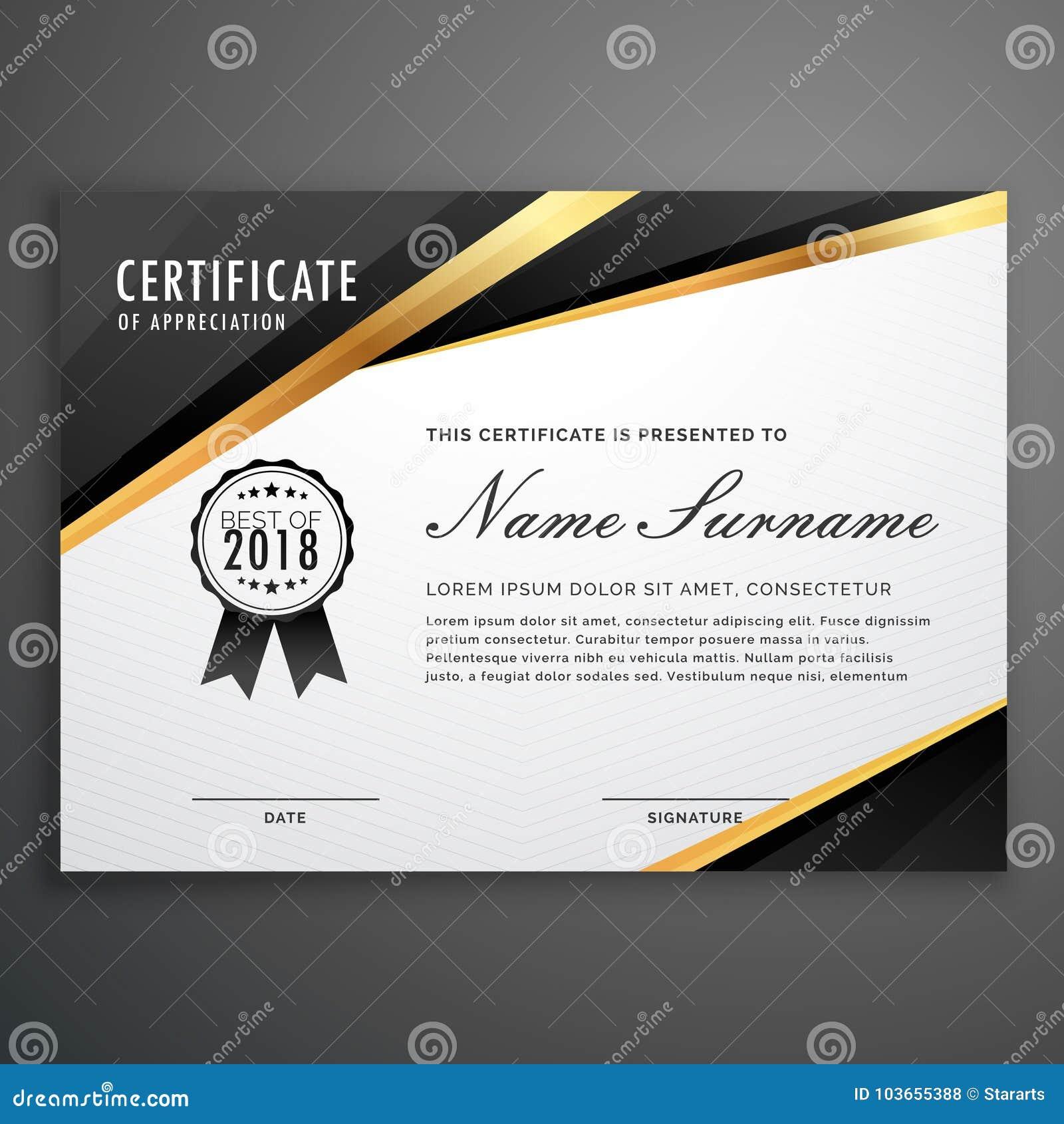 Premium Golden Black Certificate Template Design Stock Vector