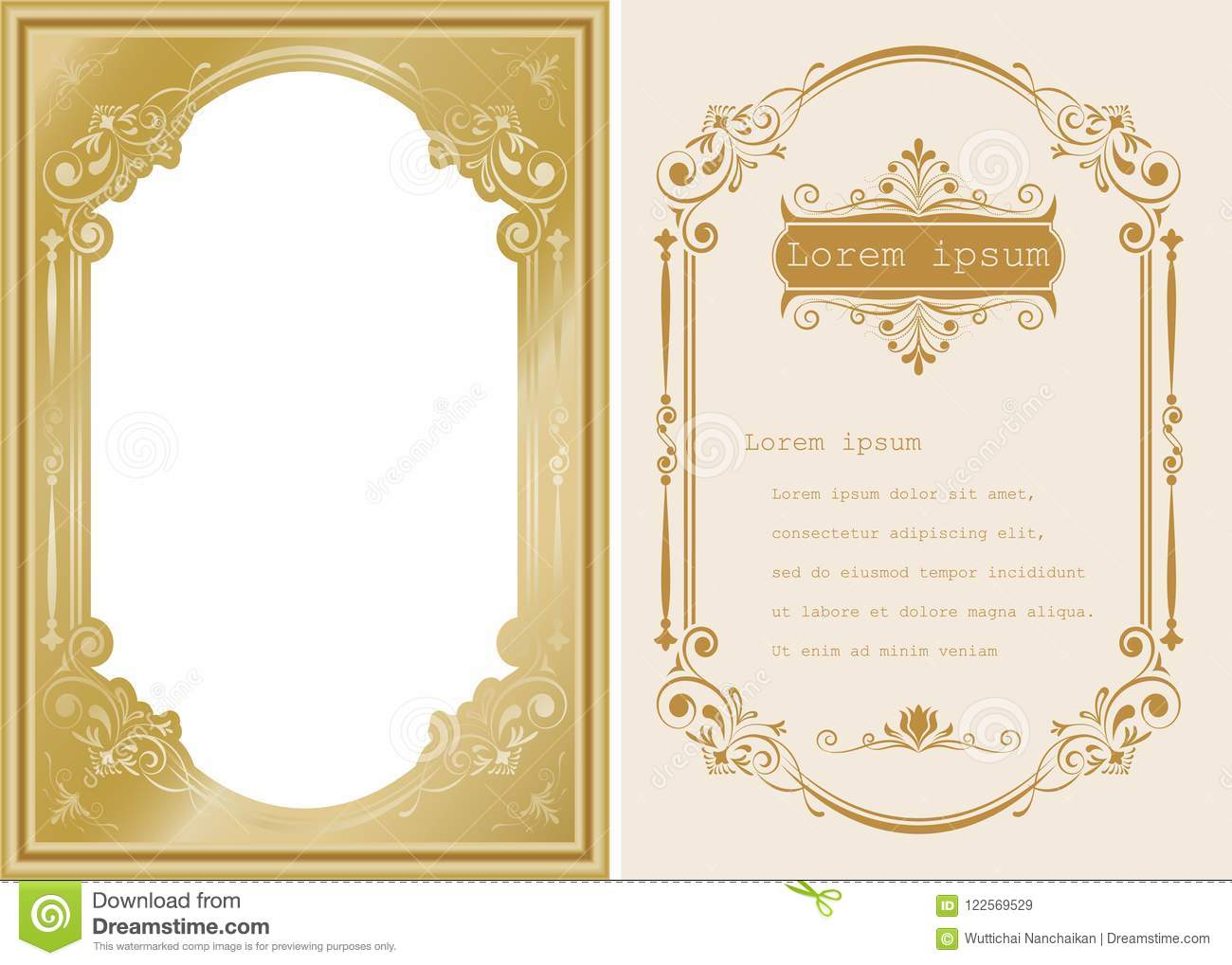 84f7ddd81720 Premium invitation or wedding card in vintage decorative golden frame with  beautiful filigree and retro border on ancient background