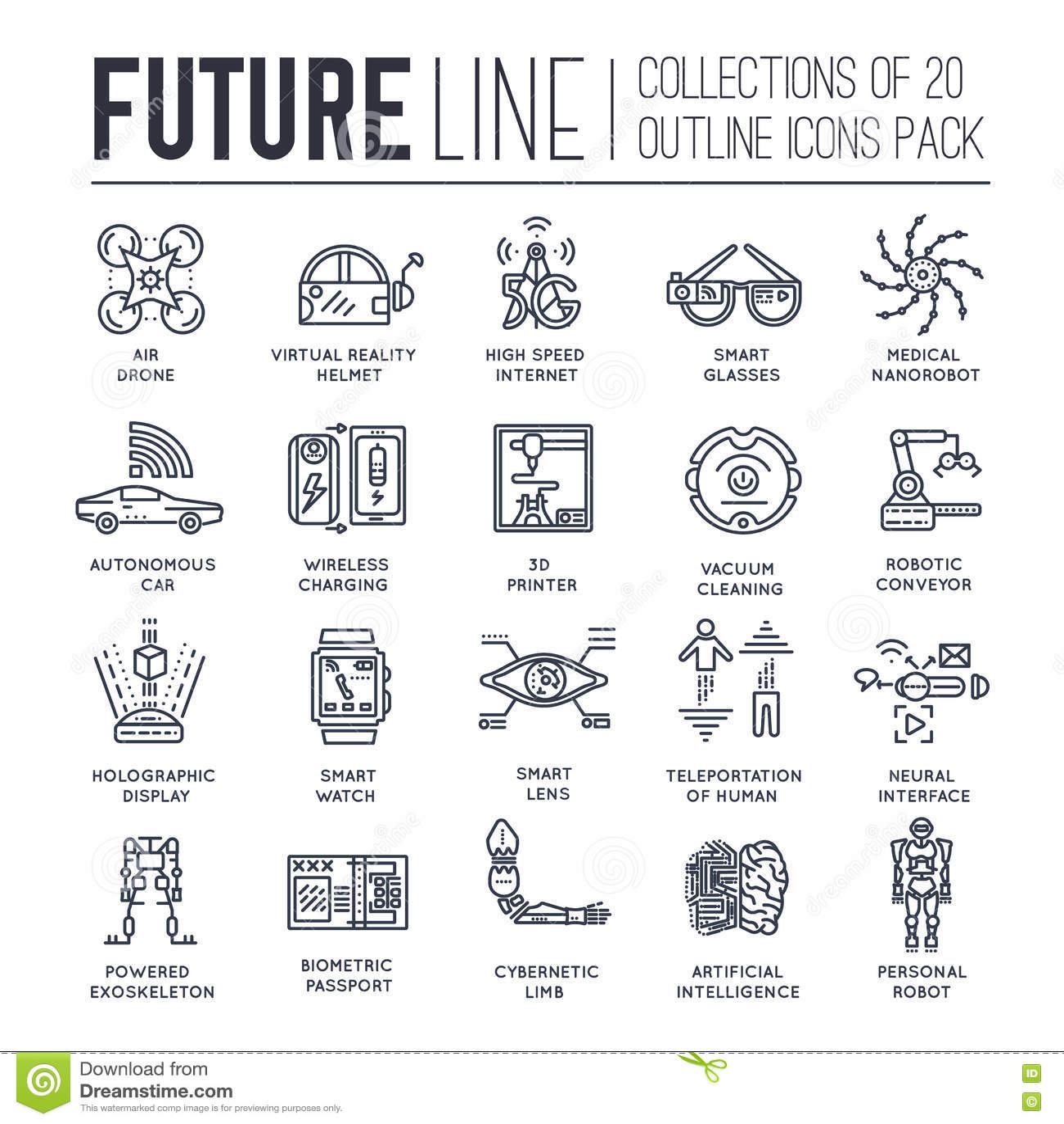 Premium Quality Future Thin Line Ollection Set Tomorrow