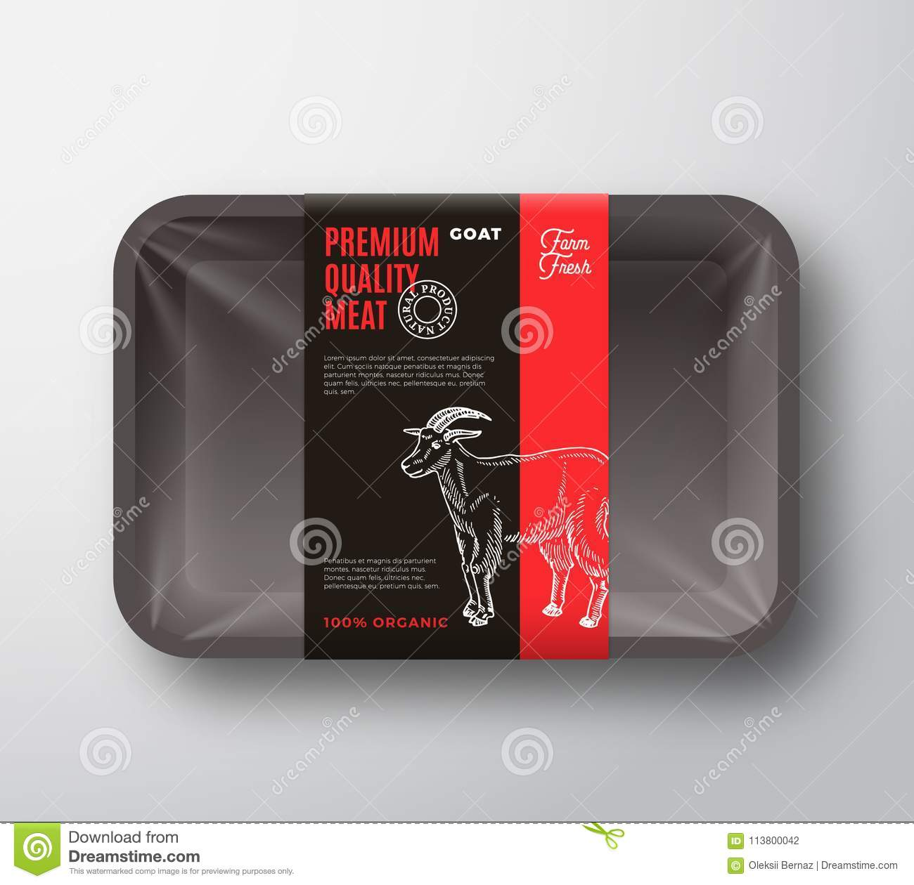 Premium Quality Goat Meat Packaging Design Layout With Label Stripe