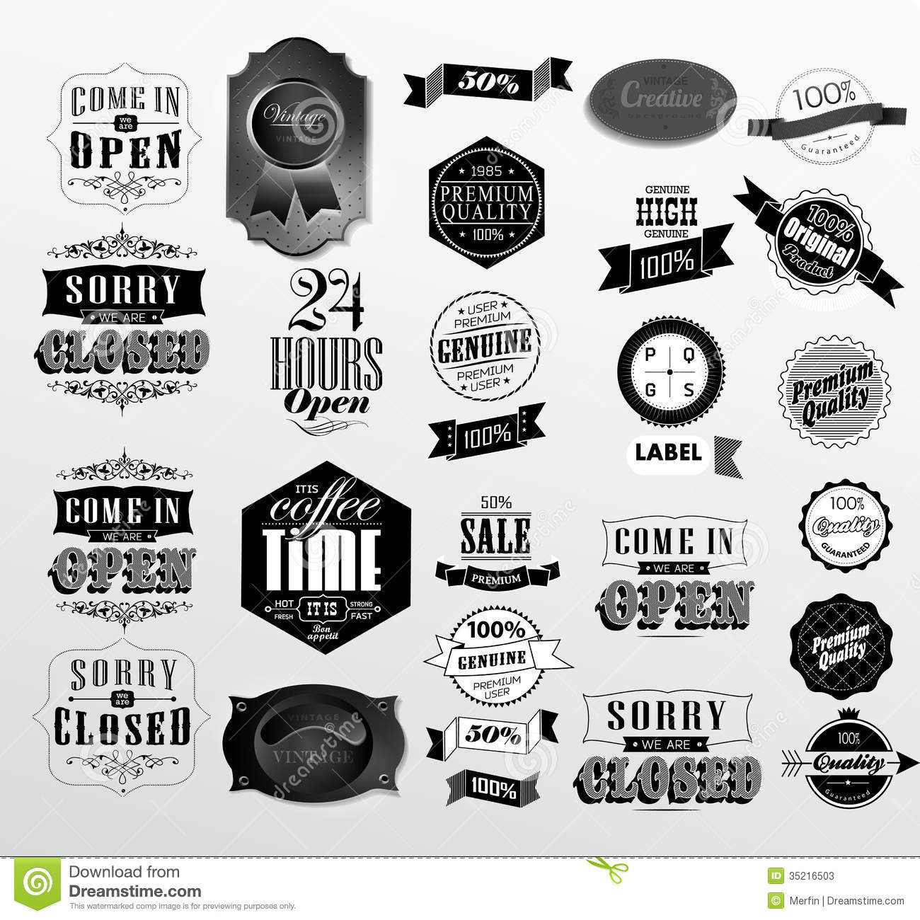 Premium Quality, Guarantee And Sale Labels Stock Vector - Image: 35216503