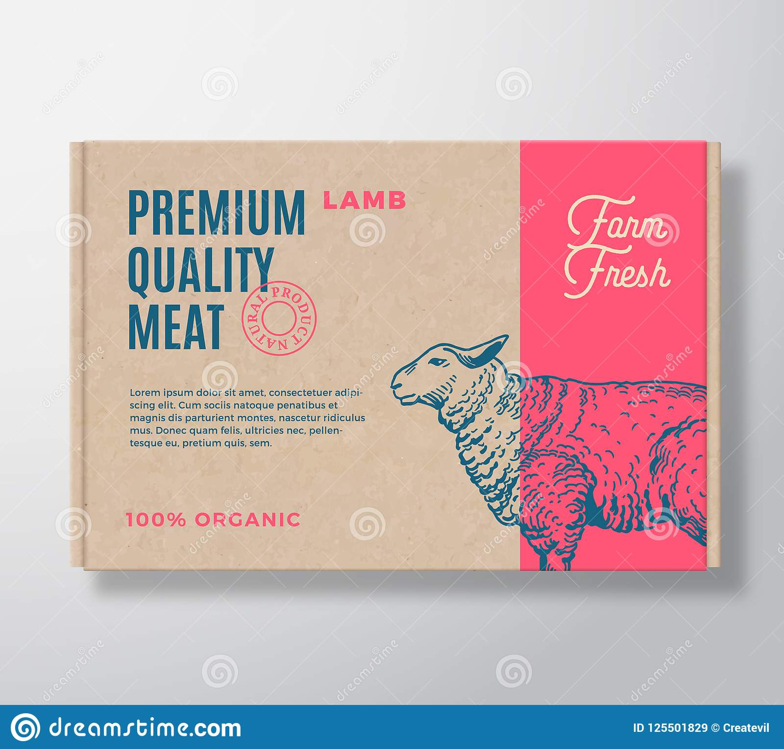 Premium Quality Lamb Vector Meat Packaging Label Design On A Craft