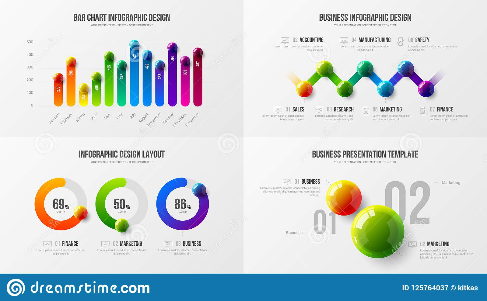 Premium quality marketing analytics presentation vector illustration template. Business data visualization creative design layout.