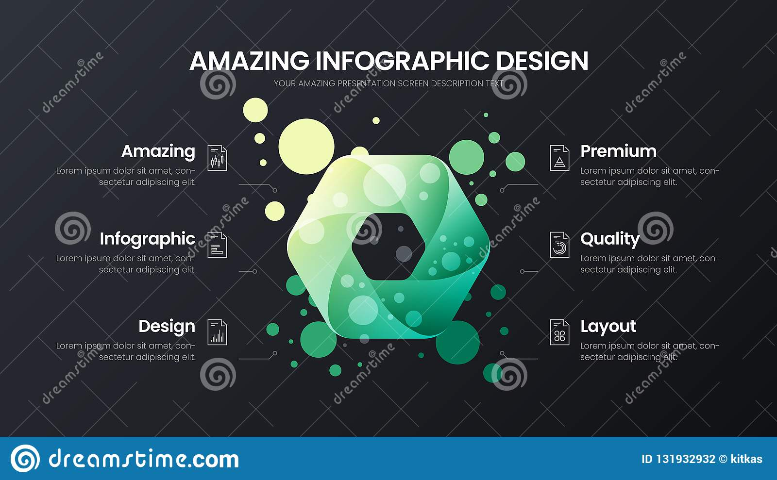 6 option hexahedron analytics vector illustration template. Business data design layout.Organic statistics infographic.
