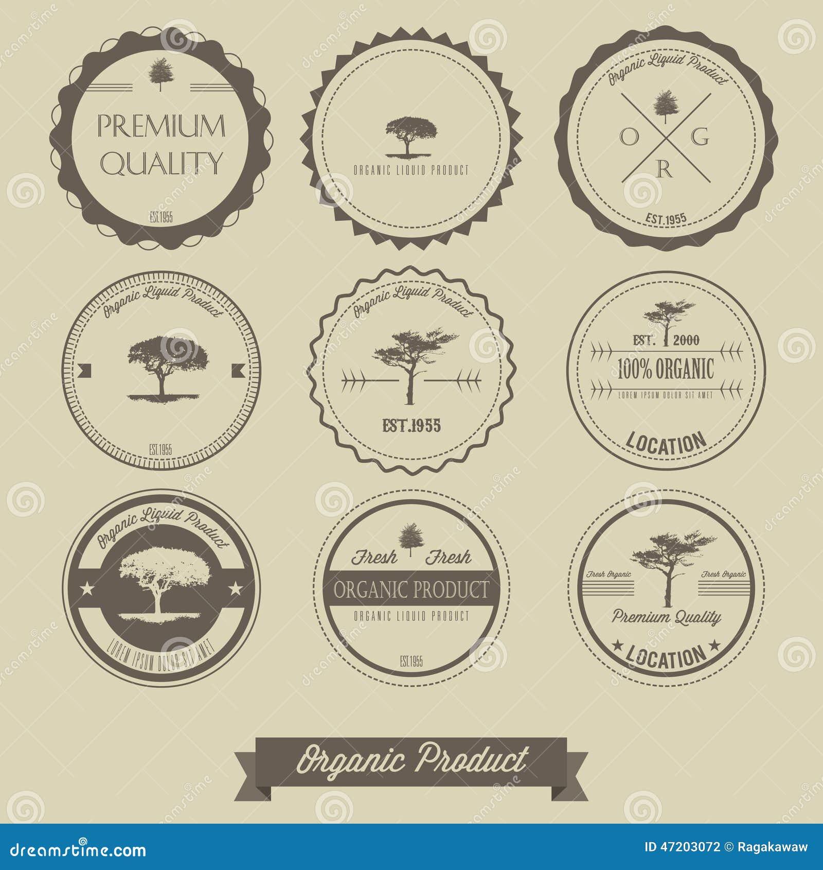 Premium quality organic product vintage label