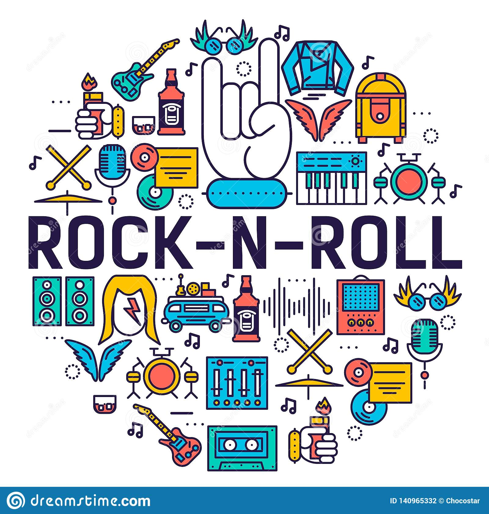 Premium Quality ROCK`N`ROLL Outline Icons Collection Set  Music