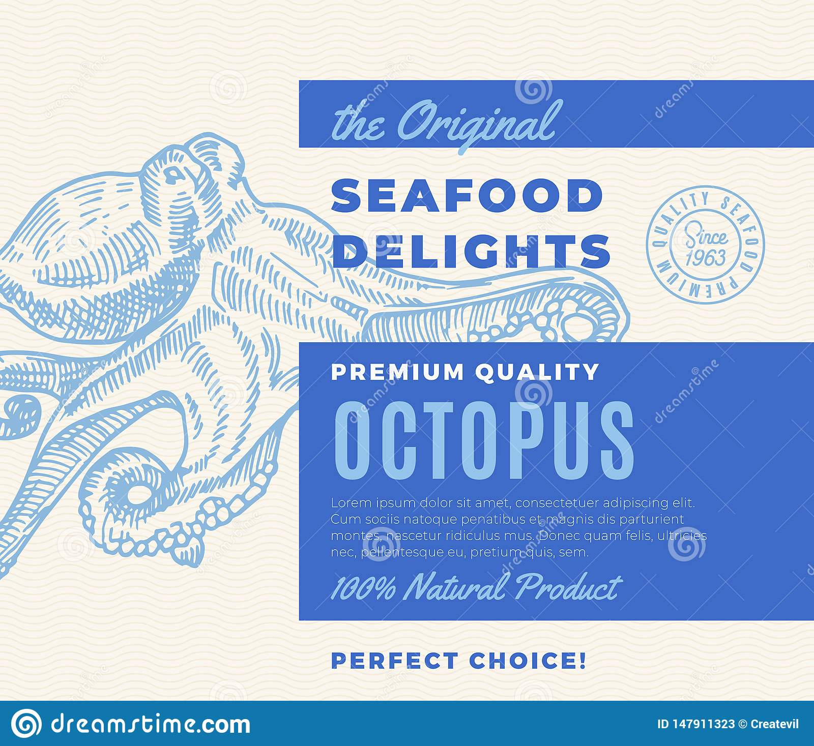 Premium Quality Seafood Delights. Abstract Vector Packaging Design or Label. Modern Typography and Hand Drawn Octopus