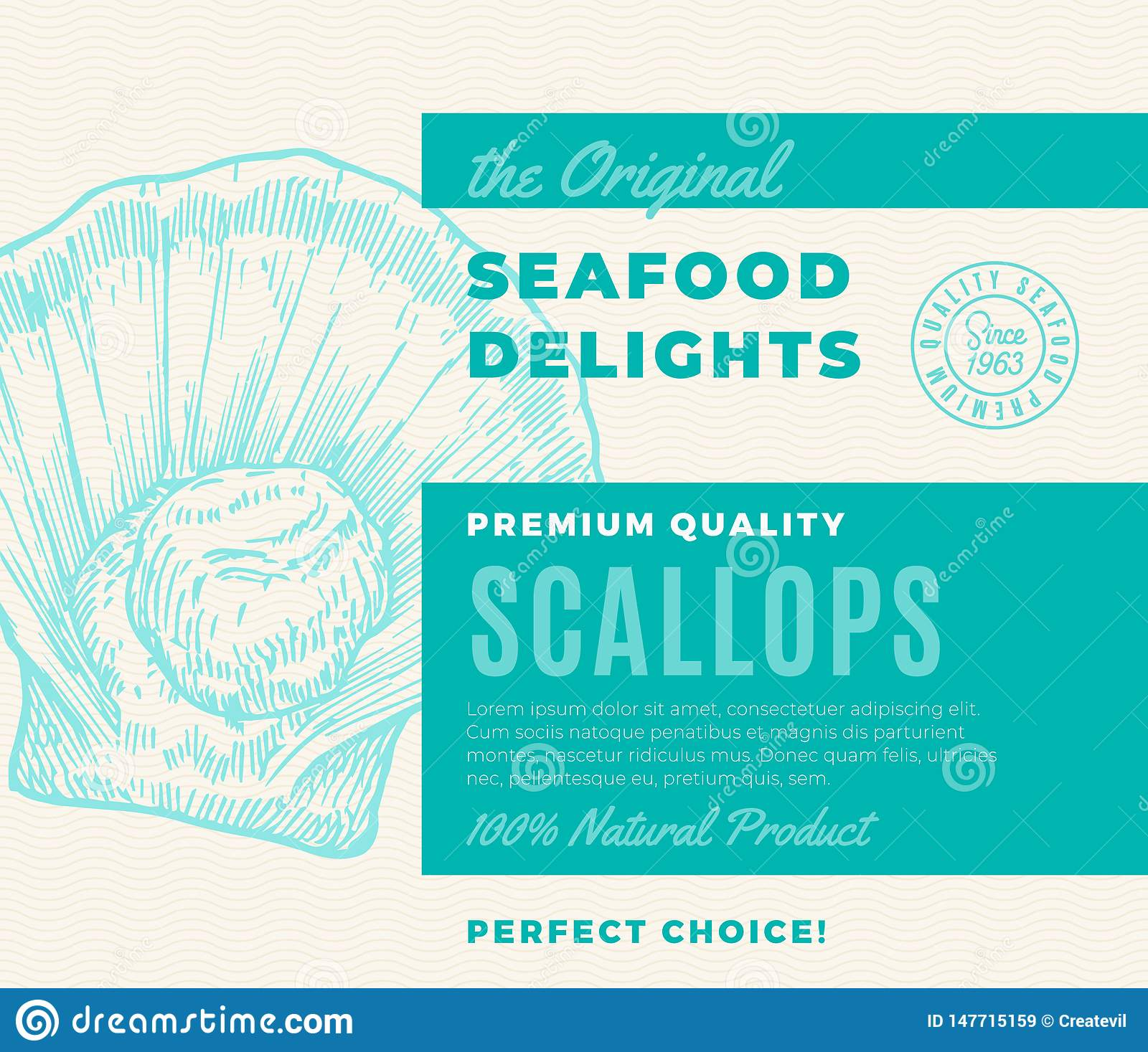 Premium Quality Seafood Delights. Abstract Vector Packaging Design or Label. Modern Typography and Hand Drawn Scallop