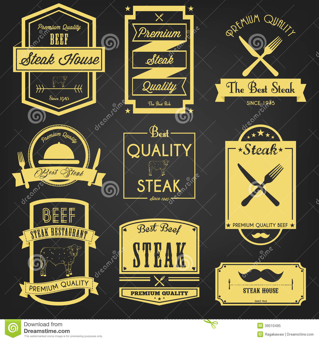 Premium Steak Vintage Label