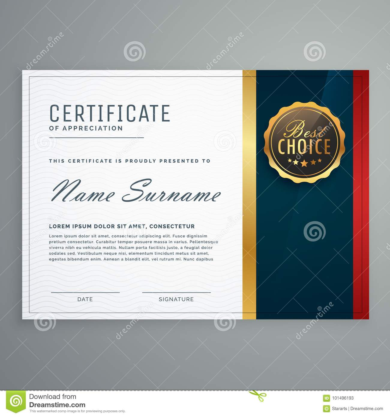 Premium Style Modern Certificate Template Design Stock Vector ...
