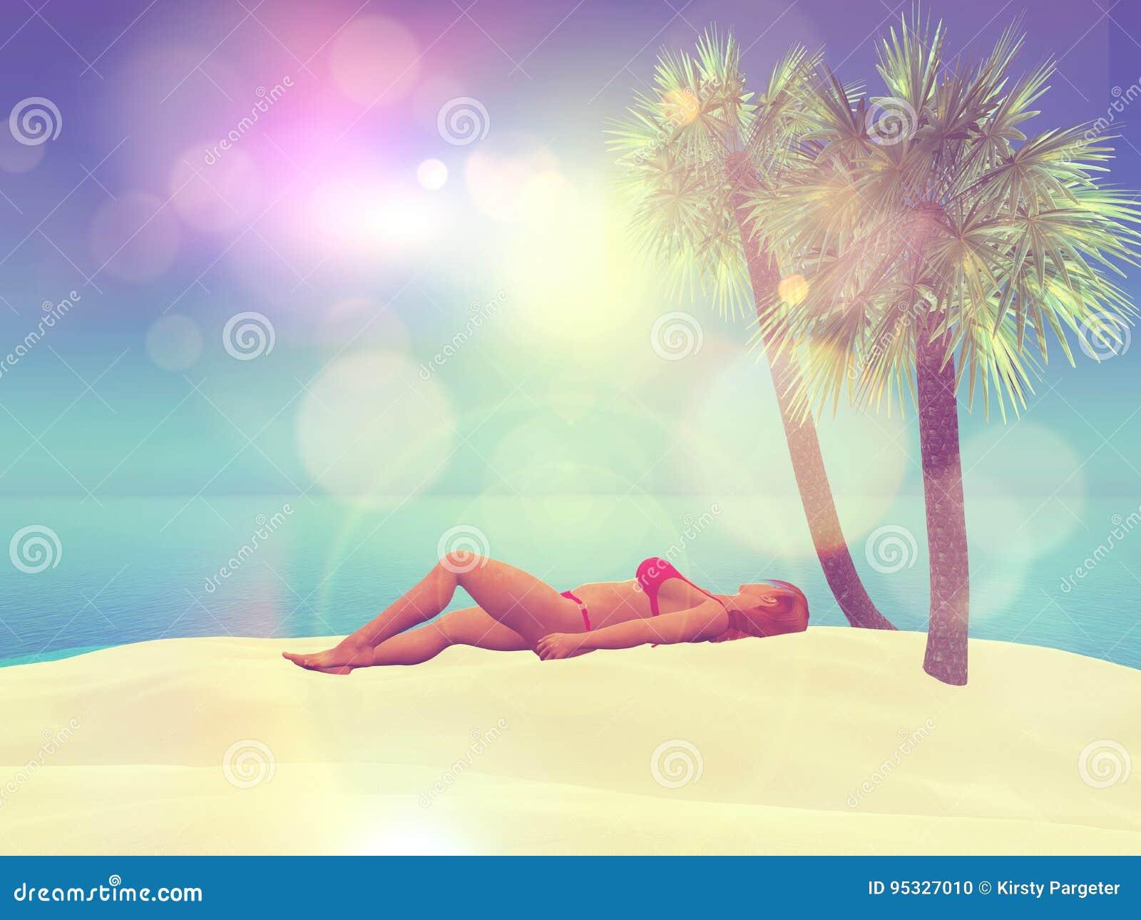 Prendere il sole femminile 3D su una spiaggia