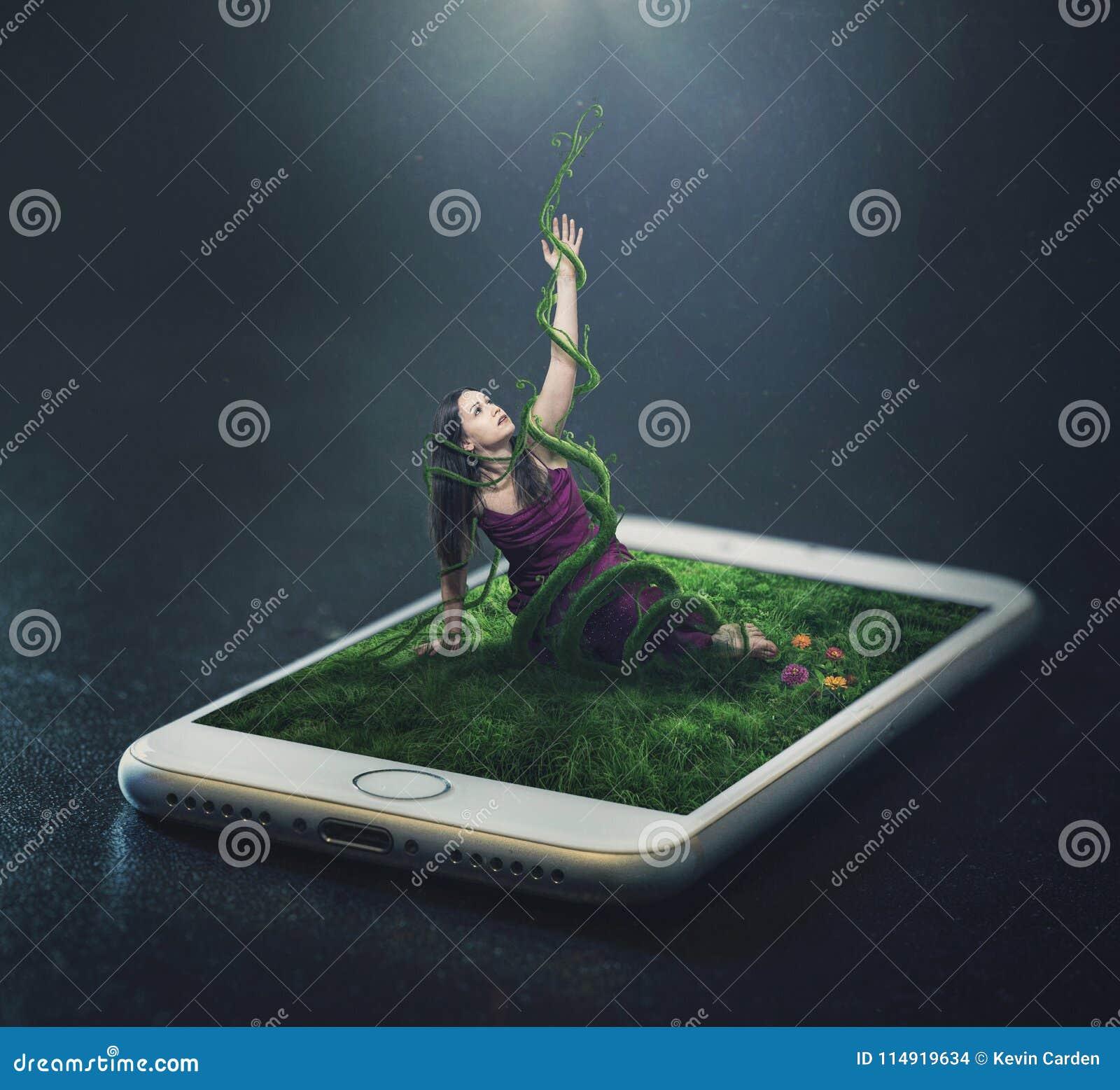 Prendido em um telefone celular