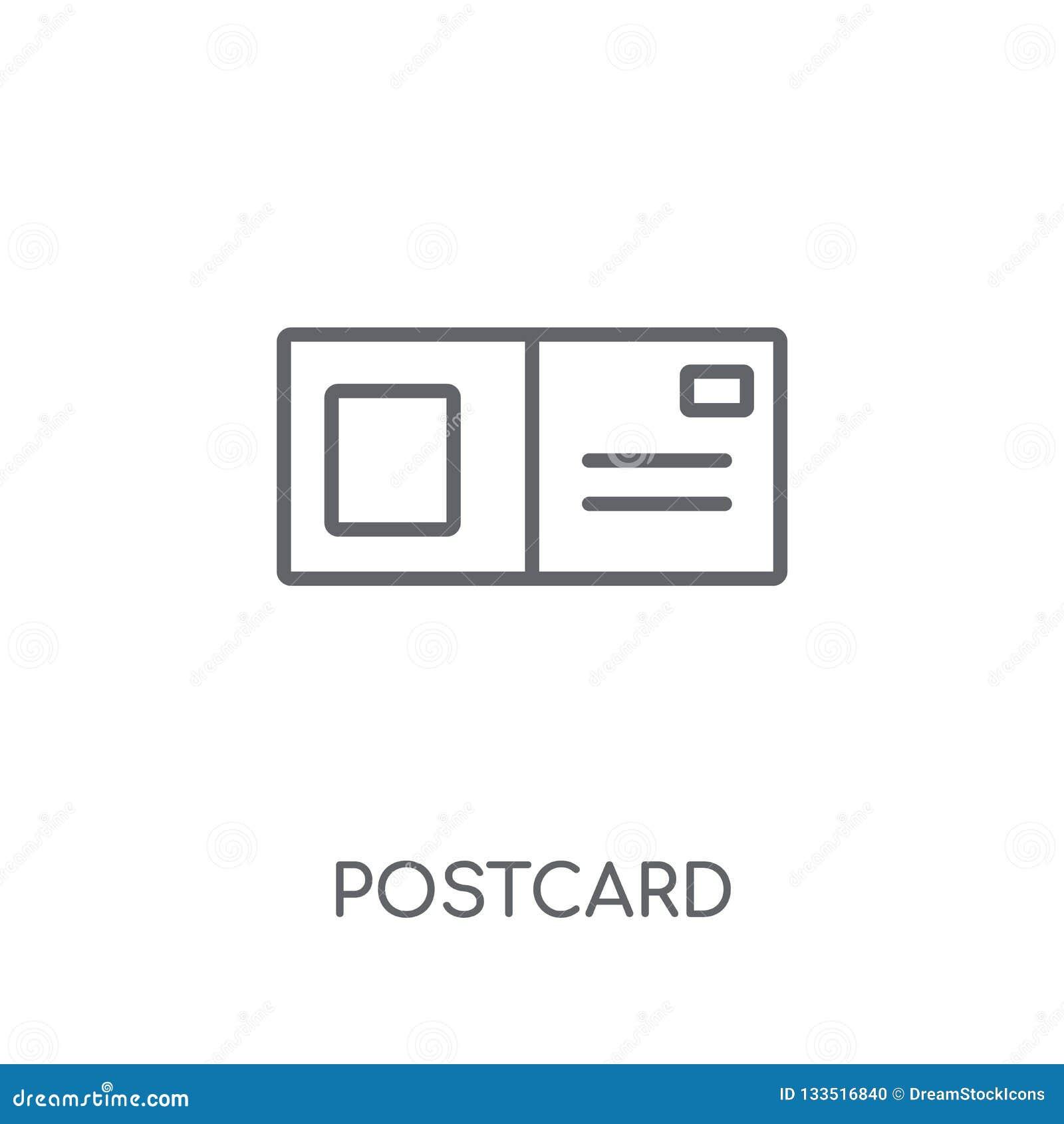 Prentbriefkaar lineair pictogram Modern het embleemconcept van de overzichtsprentbriefkaar op wh