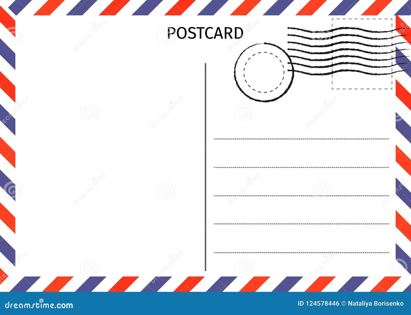 Prentbriefkaar Luchtpost Briefkaartillustratie voor ontwerp Reis