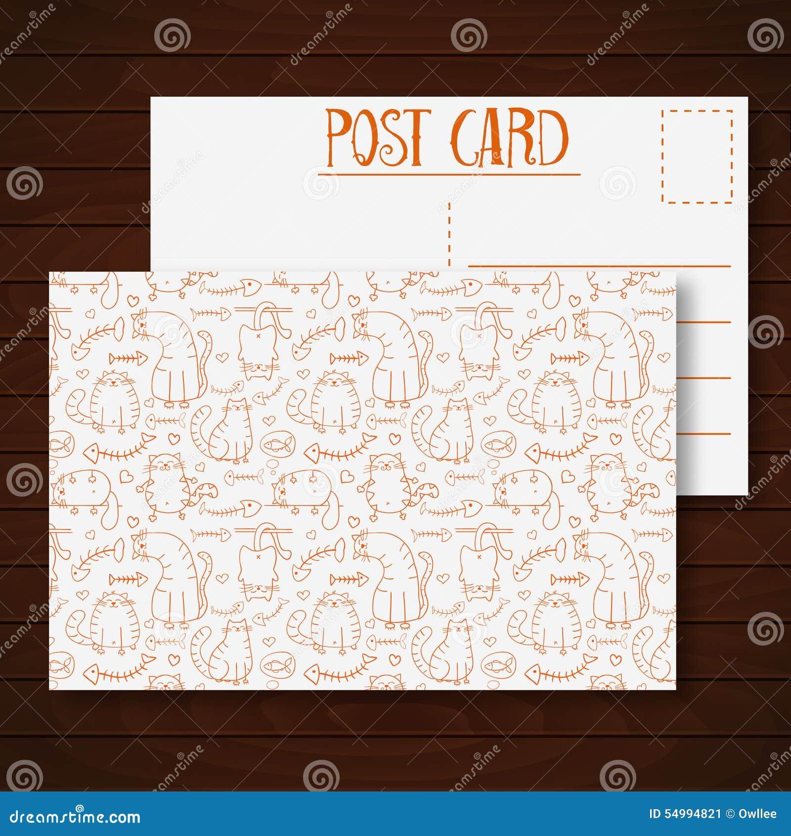 Prentbriefkaar met de grappige katten van de beeldverhaalschets