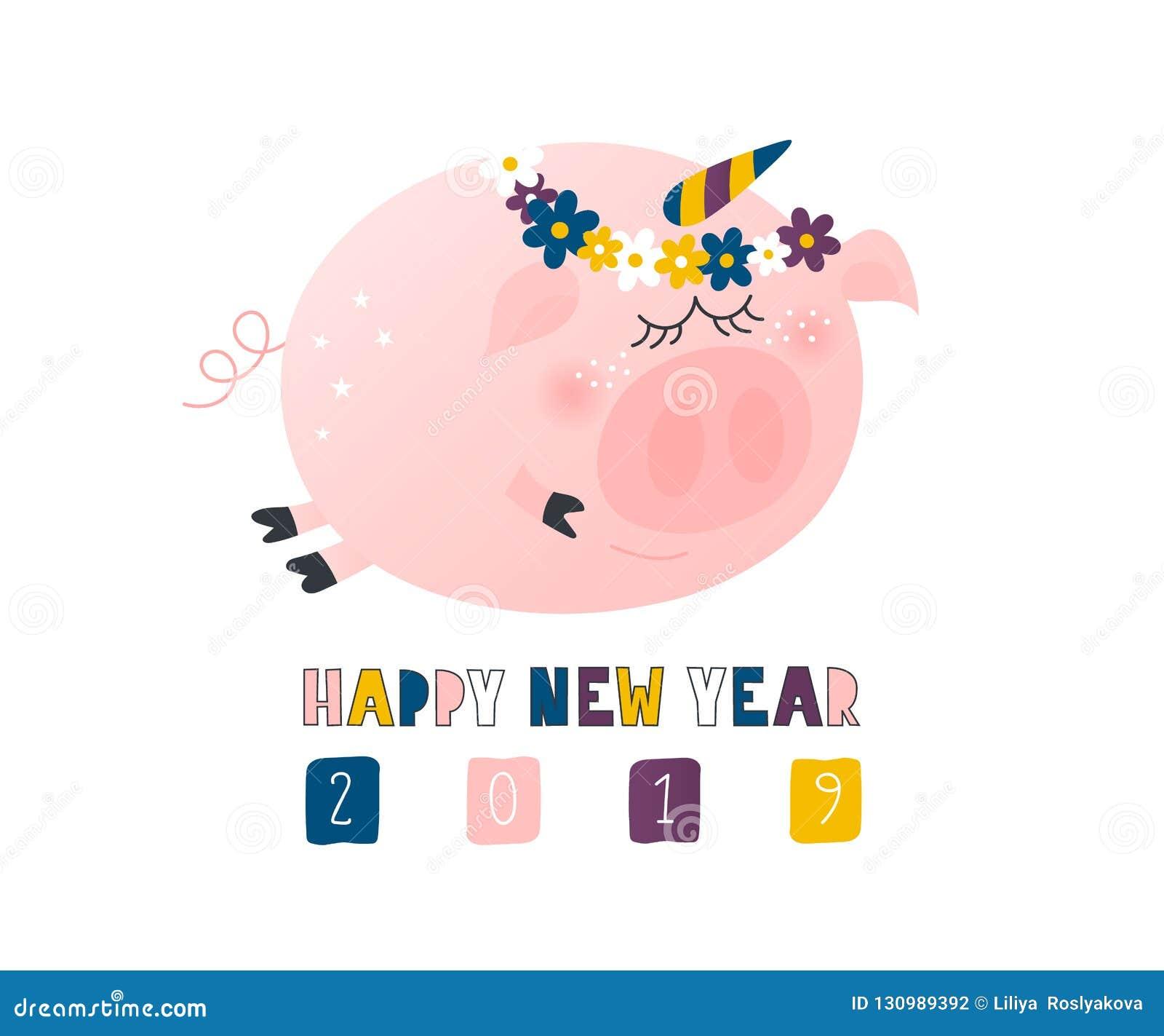 Prentbriefkaar met leuke grappige varkenseenhoorn - symbool van het jaar in de Chinese kalender 2019 Het karakter van het Piggybe