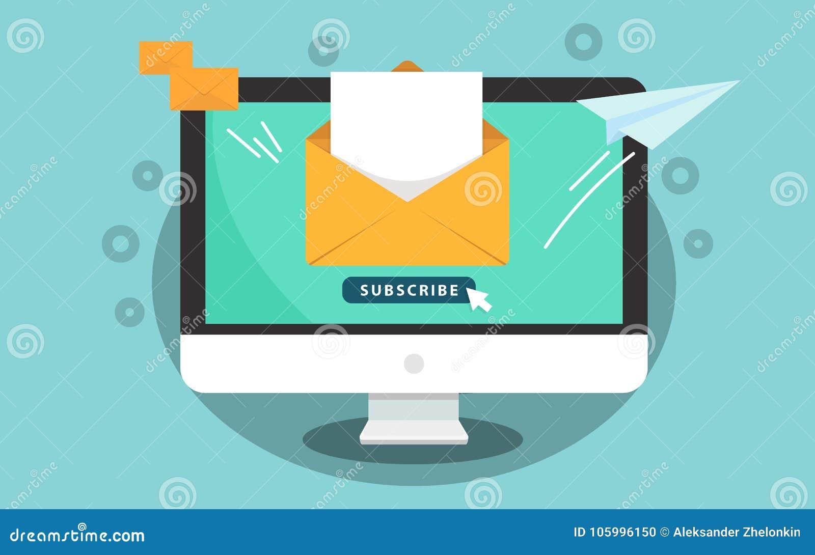 Prenumeruje dla gazetki pojęcia Prenumeruje guzika z kursorem na ekranie komputerowym Otwiera wiadomość z dokumentem Papier