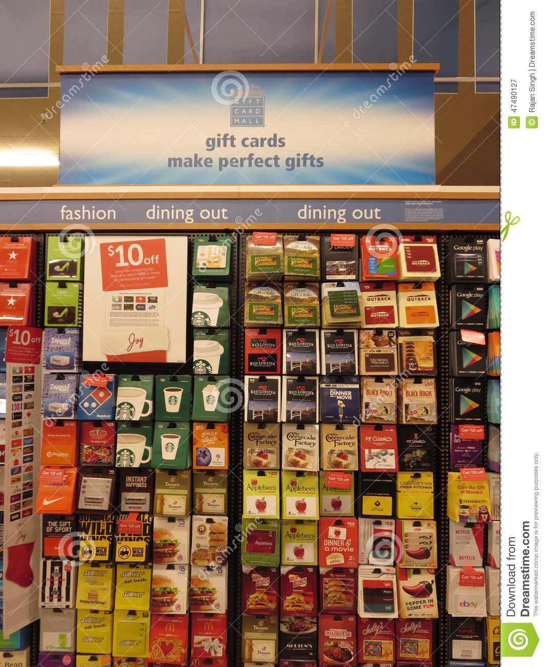 Prepaid gift cards editorial photography  Image of various - 47490127