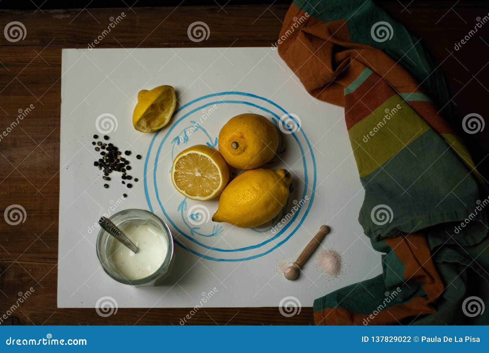 Preparación del limón del yogur