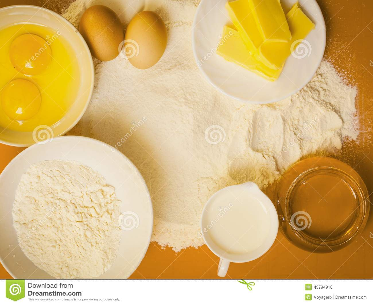 Preparation For Baking Bake Ingredients Stock Photo