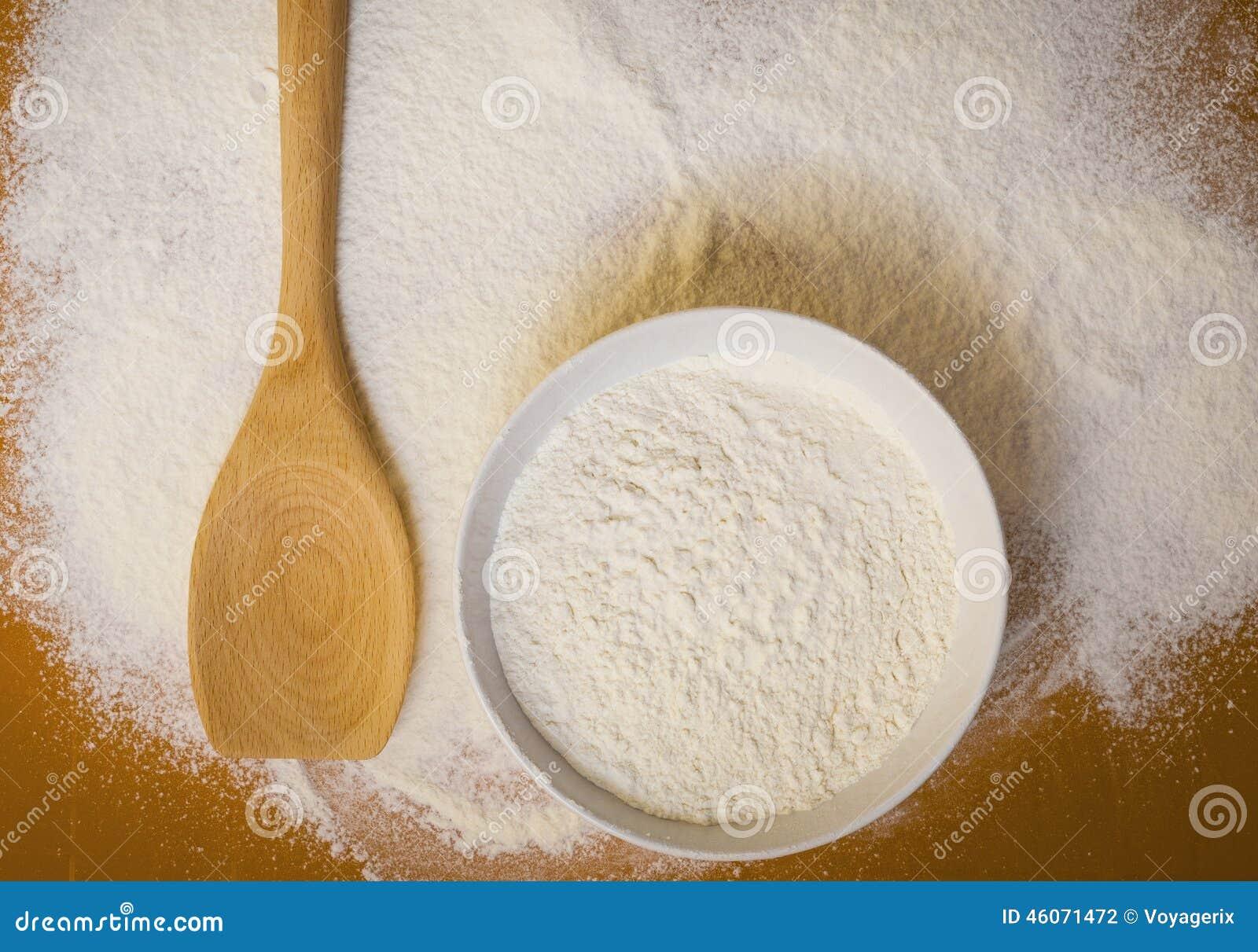 Preparation For Baking Wheat Flour On Table Stock Photo