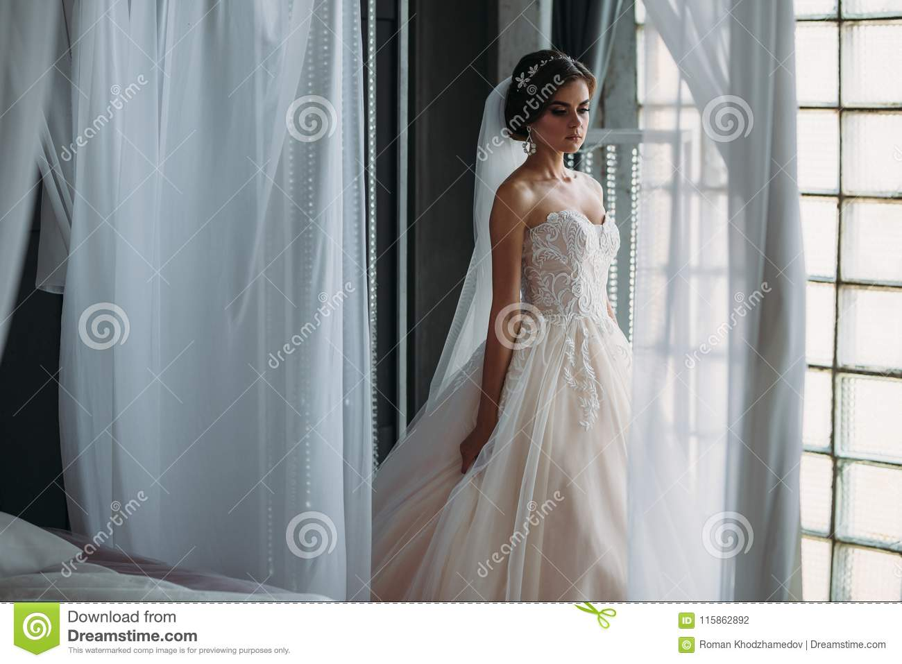 Preparation Of The Bride On A Wedding Day. Beautiful Brunette Girl ...