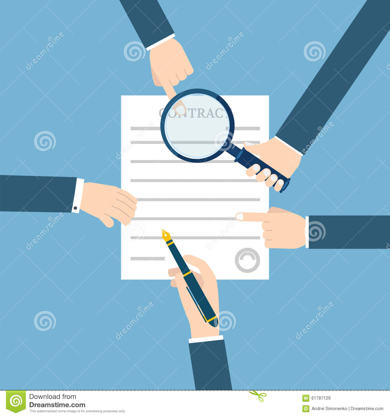 Stock Illustration Preparation Business Contract Vector Illustration S...