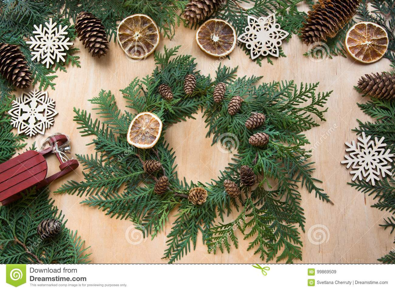 Preparation For Christmas Holiday. Christmas Composition Of Wreath ...