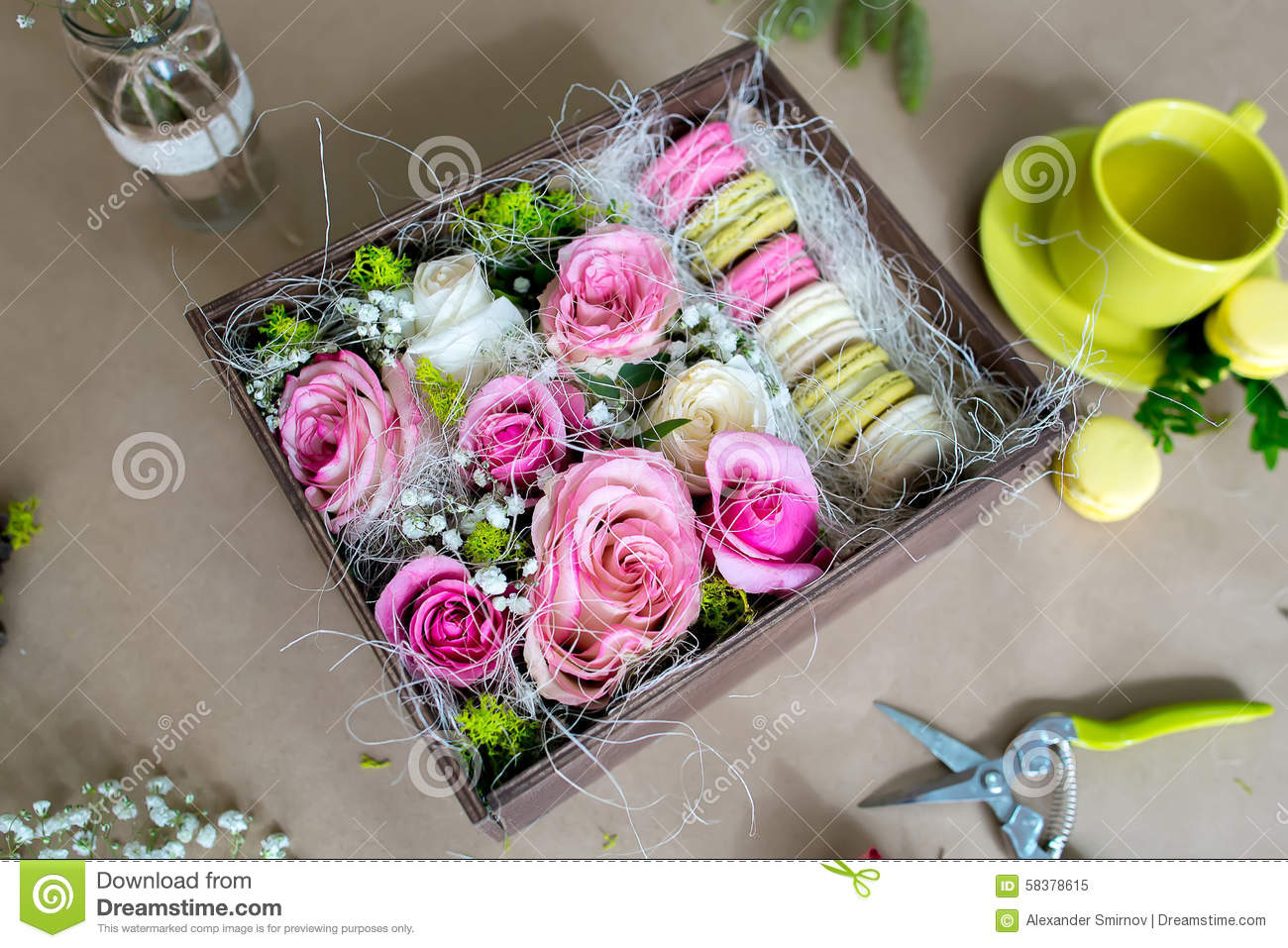 Preparation Of Flower Box With Macaroons Stock Image