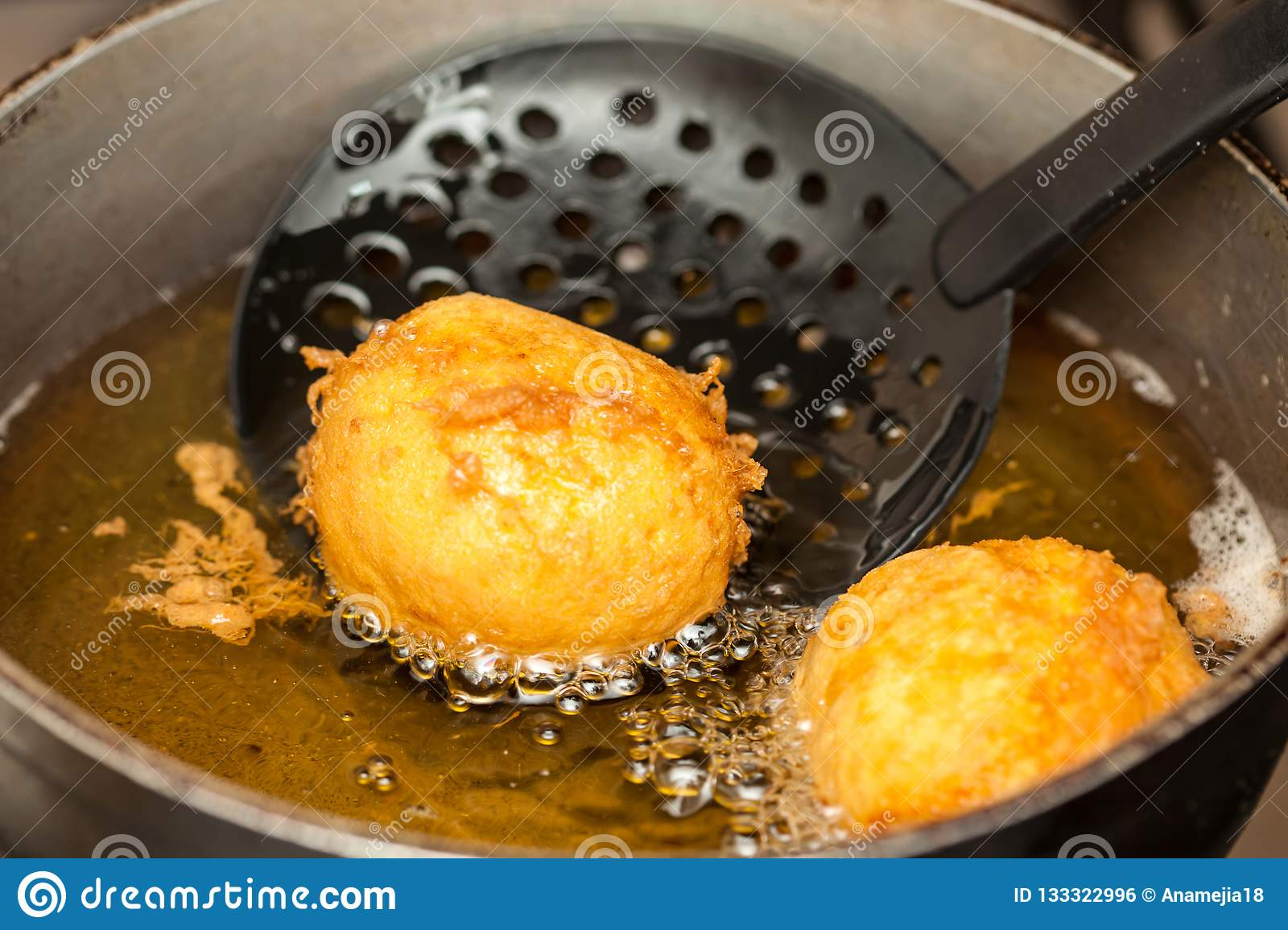 Preparation steps of traditional Colombian dish called stuffed potatoes