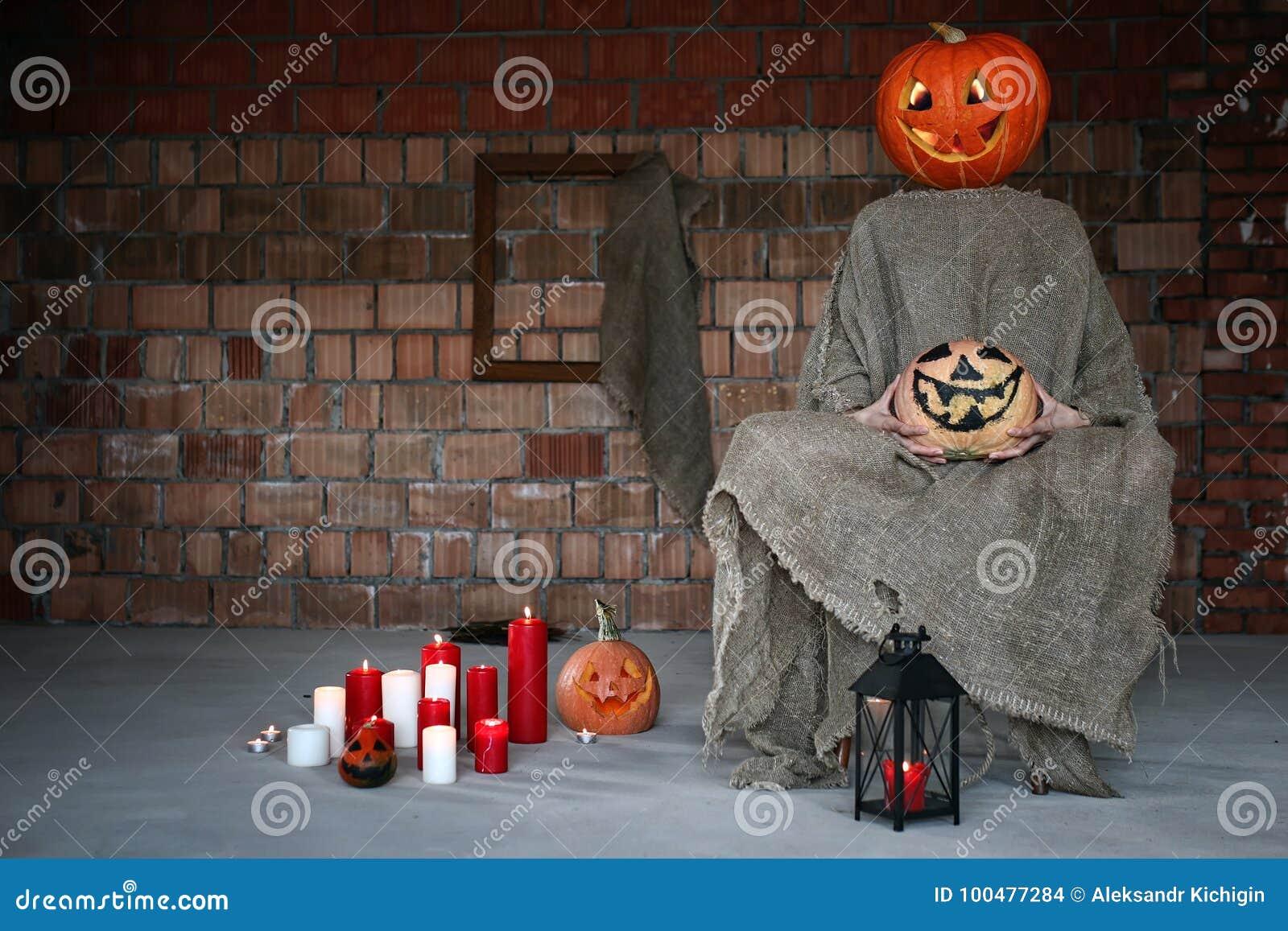 pumpkin head monster horror indoor stock photo - image of decoration