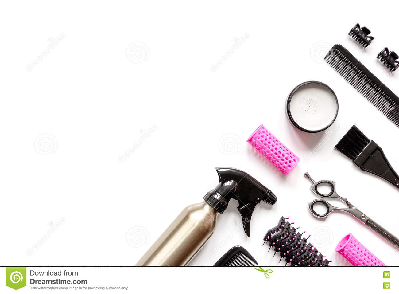 Preparations For Styling Hair On White Background Top View Stock Photo - Image of styler ...