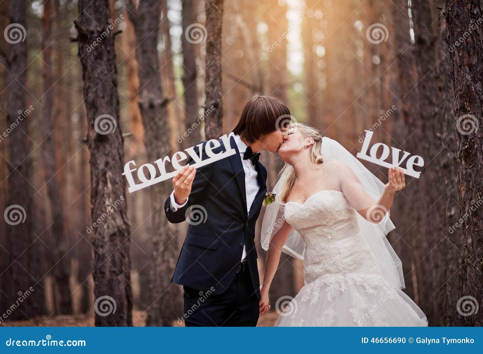 Prepare besar a la novia en una boda en el bosque del otoño y ho