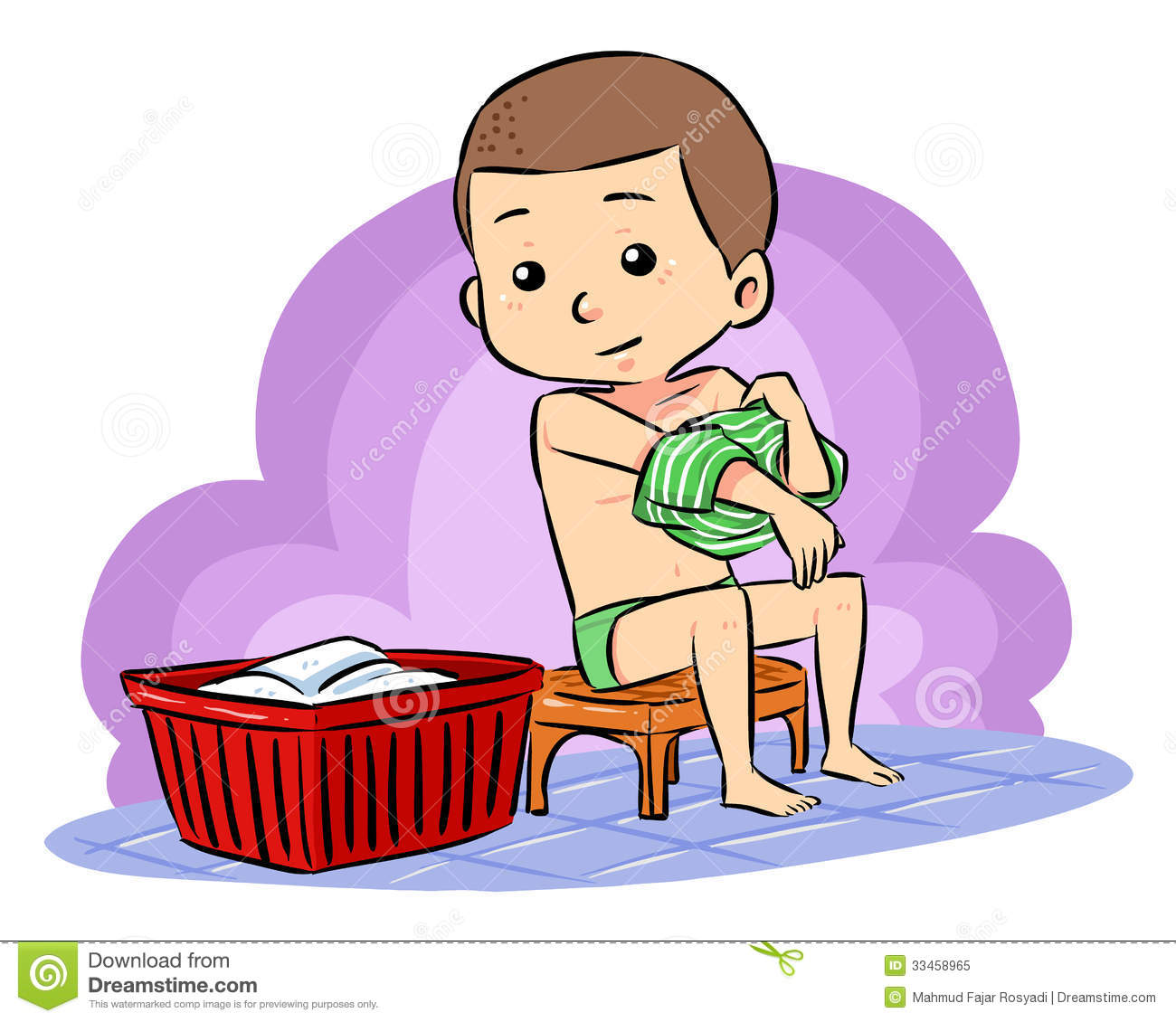 Prepare To Take Bath stock vector. Illustration of young ...