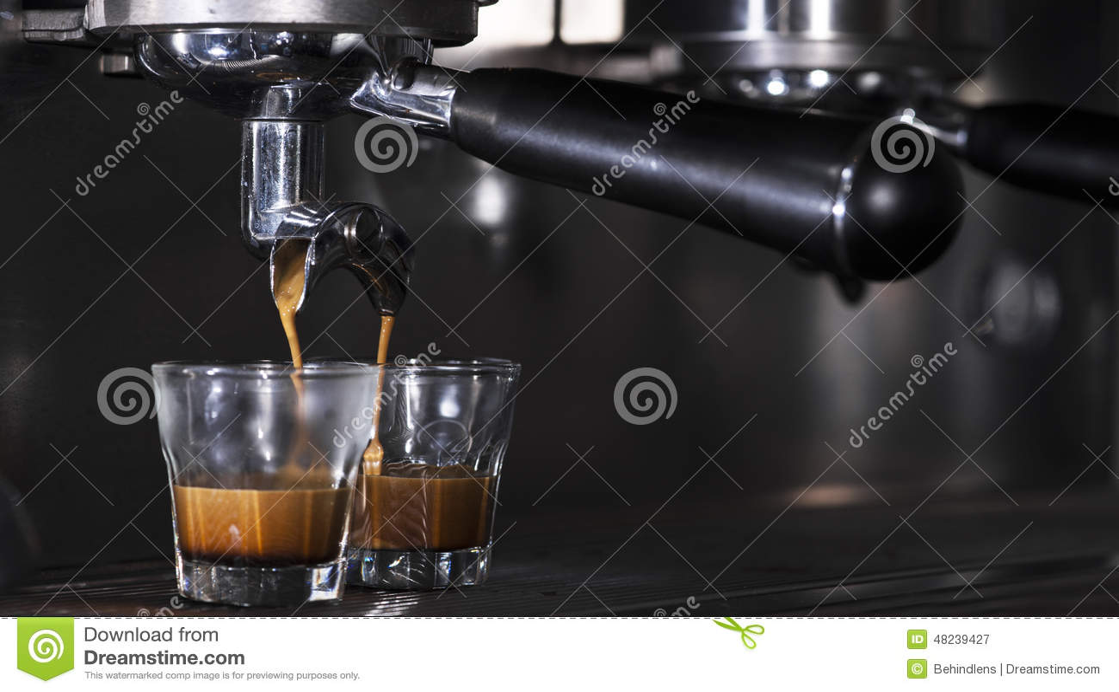 prepares espresso in his coffee shop stock photo image 48239427. Black Bedroom Furniture Sets. Home Design Ideas