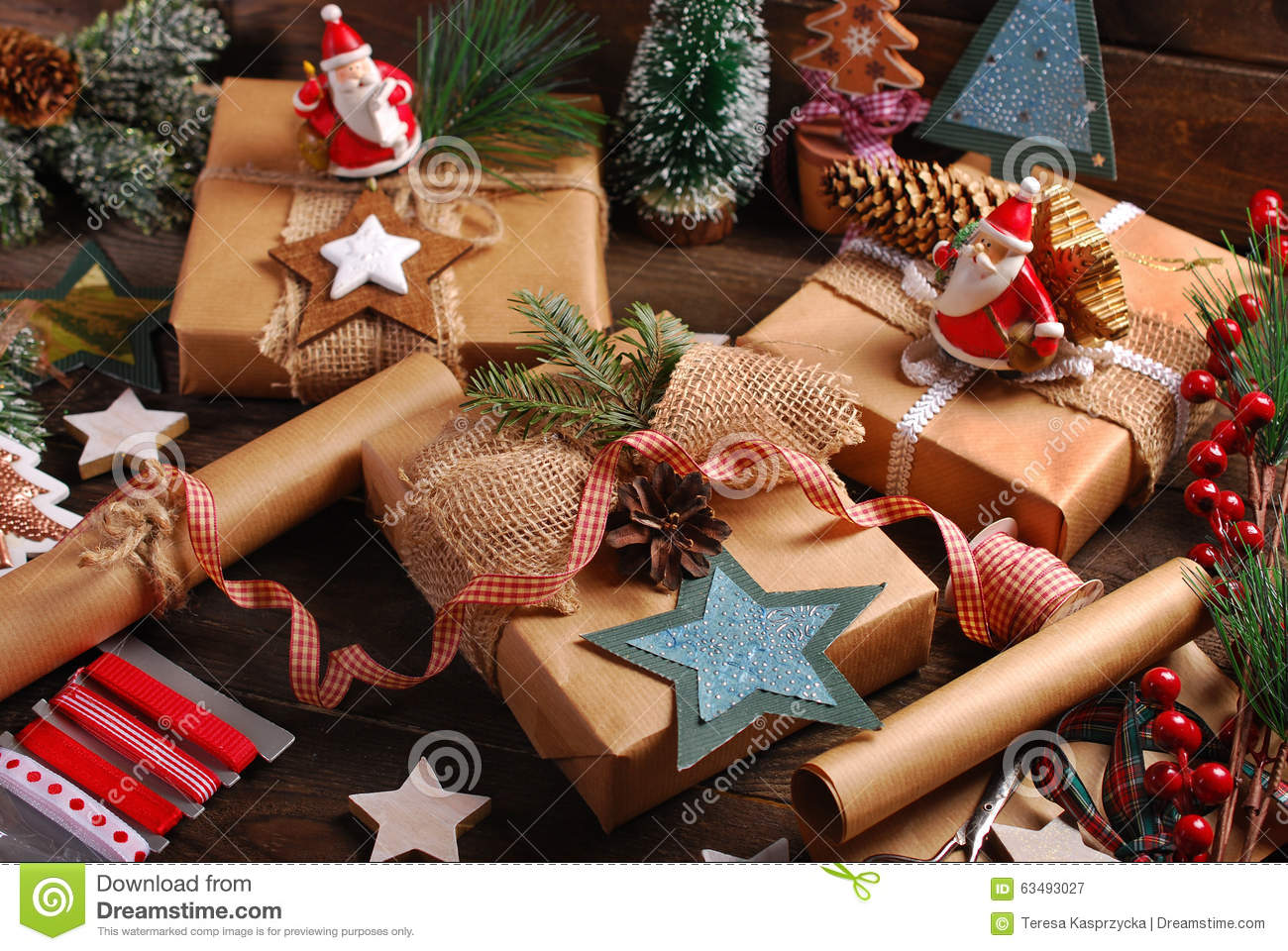 Preparing Christmas Gifts In Rustic Style Stock Image Image Of