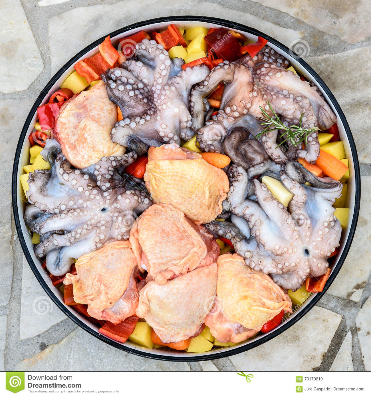 Preparing and cooking of octopus and chicken in traditional balk stock photo image 70170610 - Healthy greek recipes for dinner mediterranean savour ...