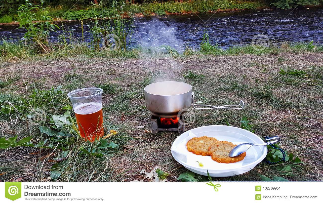 Dinner on a camp site