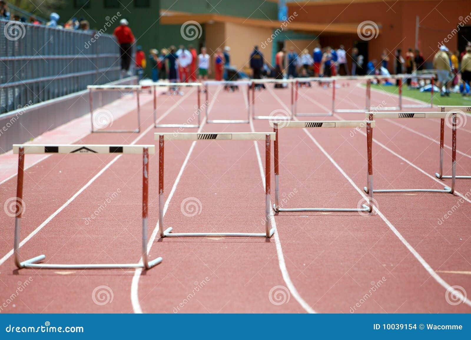 Preparing For A Hurdles Race Stock Photo