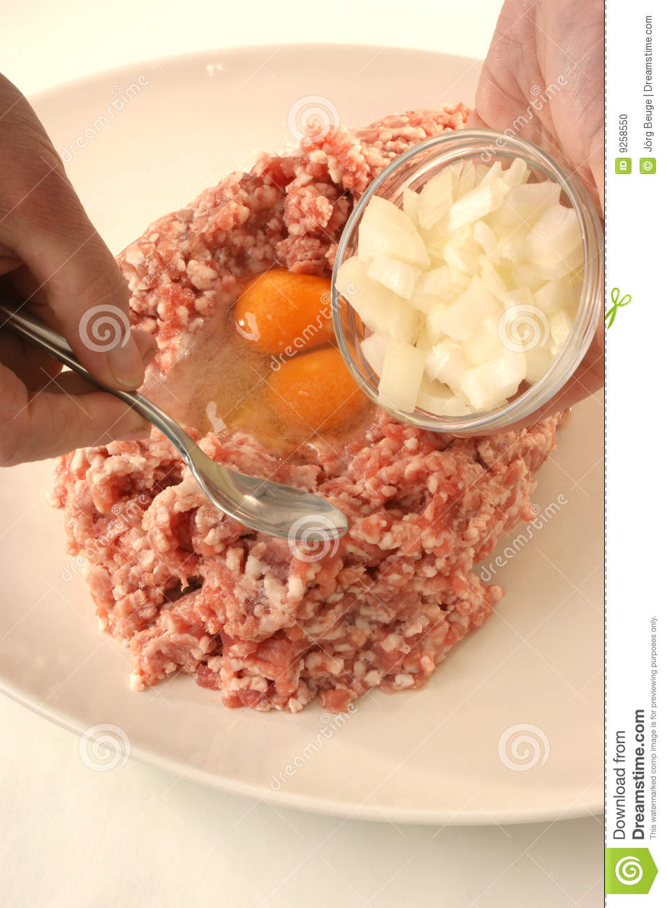 Preparing Mince To Make Meatballs Stock Photo Image Of Preparation
