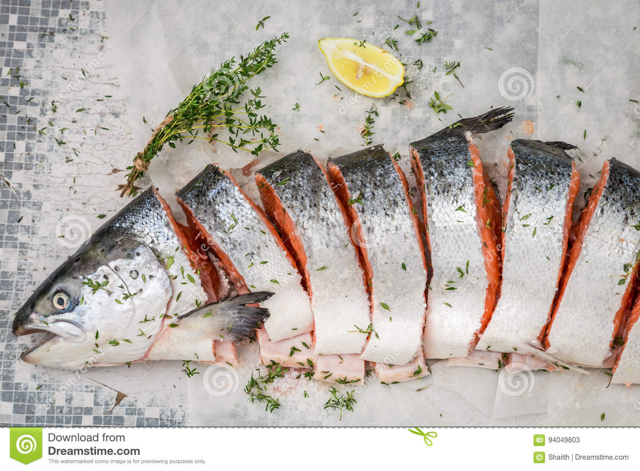 8b6bcb11bf96 Preparing Salmon With Thyme And Salt For Grill Stock Image - Image ...