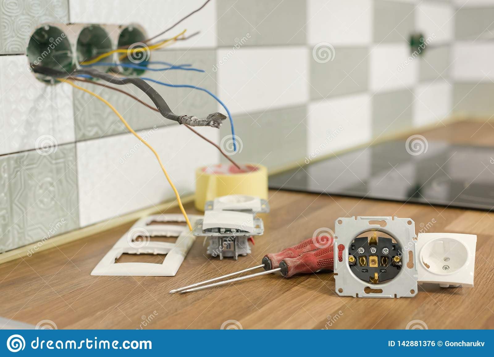 Install Electrical Outlet >> Preparing To Install An Electrical Outlet Closeup Of Professional
