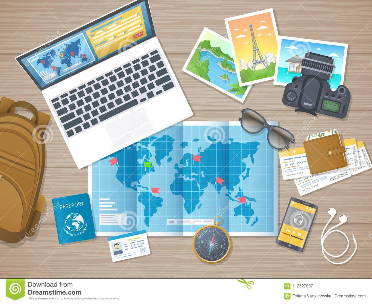 Preparing for vacation travel journey travel planning packing travel planning packing check list booking hotel wooden table with world map photos air ticket passport baggage gumiabroncs Image collections