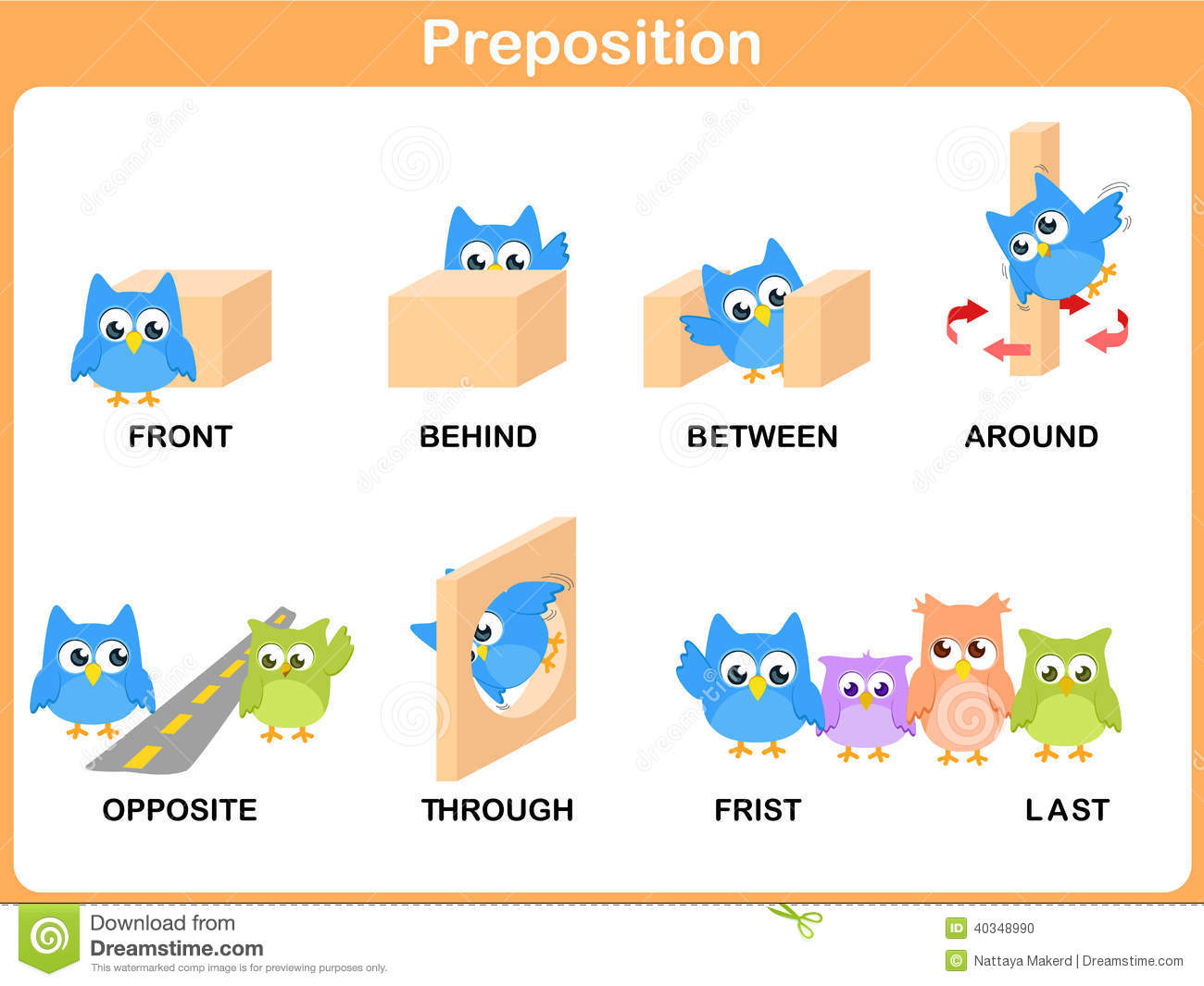 preschool prepositions preposition of motion for preschool stock vector image 900